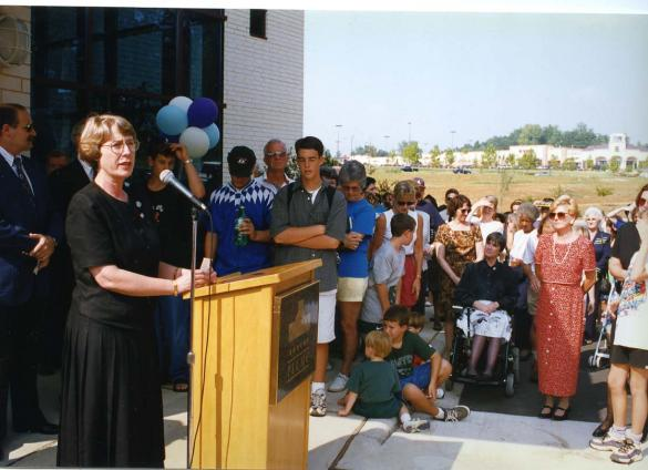 Carol Myers, then-chief of Public Services, speaks at North County opening, 1997.