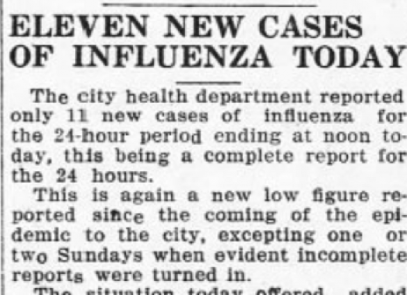 Magazine excerpt from the Charlotte Observer in 1918 about the Spanish Flu