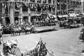 Floats from a Meck Day Parade, Courtesy of the Robinson-Spangler Carolina Room, Charlotte Mecklenburg Library.