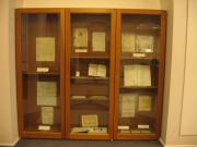 Exhibit case with historic documents