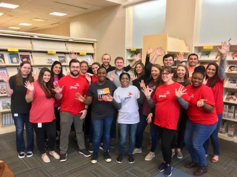 Some Charlotte Mecklenburg Library volunteers serve from organizations such as Price Waterhouse Cooper.