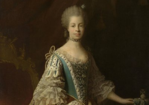A portrait of Queen Charlotte of Mecklenburg. Find a hand-written letter from the Queen at the Charlotte Mecklenburg Library.