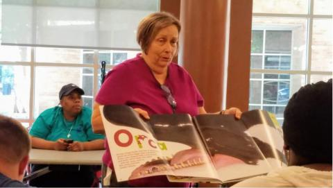Cathy Fletcher leads adult sensory storytime at Main Library